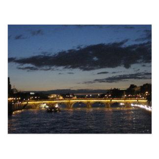 Seine Bridge at Dusk Postcard