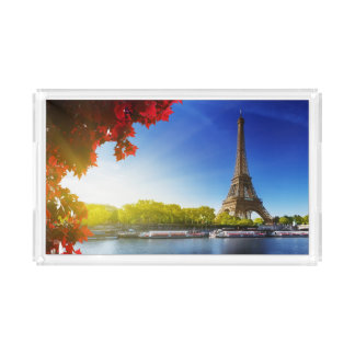 Seine In Paris With Eiffel Tower In Autumn Time Acrylic Tray