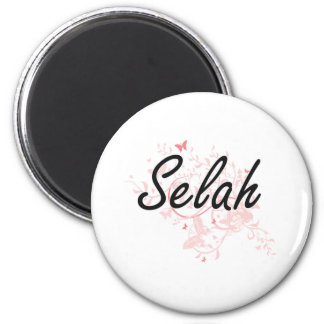 Selah Artistic Name Design with Butterflies 2 Inch Round Magnet