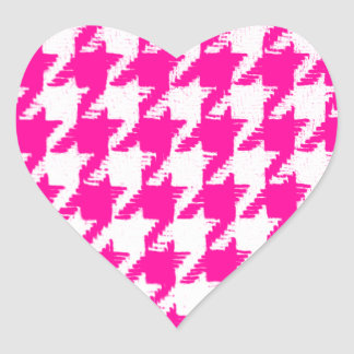 Select a Color and White Houndstooth Heart Sticker