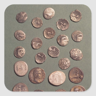 Selection Celtic and Roman  coins found Square Sticker