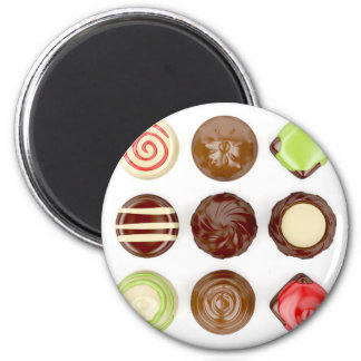 Selection of chocolate candies 2 inch round magnet
