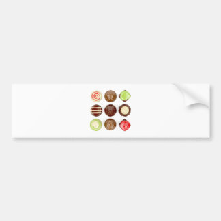 Selection of chocolate candies bumper sticker