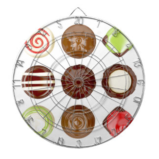 Selection of chocolate candies dartboard