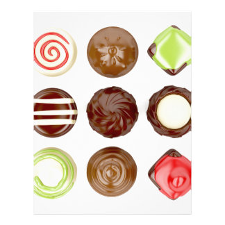Selection of chocolate candies letterhead