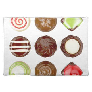Selection of chocolate candies placemat