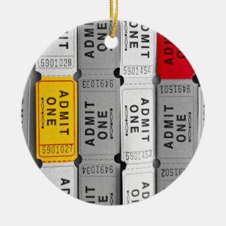 Selective Color Ticket Ceramic Ornament