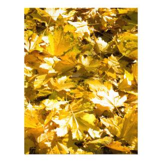 Selective focus on a set of yellow autumn fallen m letterhead