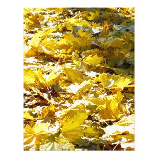 Selective focus on the yellow fallen autumn maple letterhead design