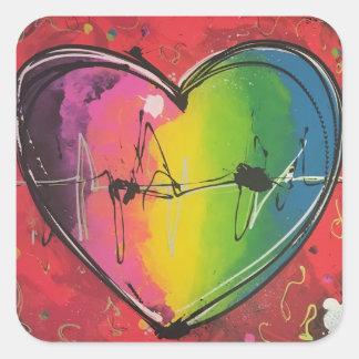 Self-adhesive heart, a coloured love square sticker