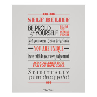 Self Belief Motivational Quote Poster