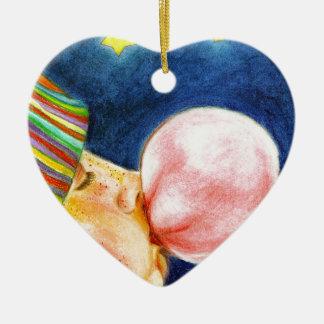 Self Bubble Ceramic Heart Ornament