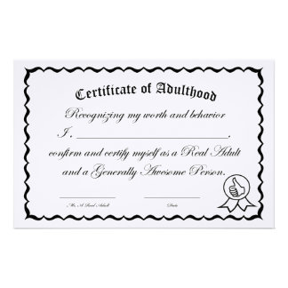 Self-Certification Certificate of Adulthood Custom Stationery