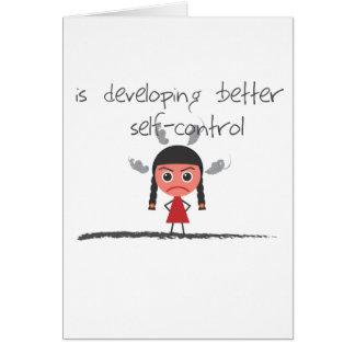 self-control-girl greeting card