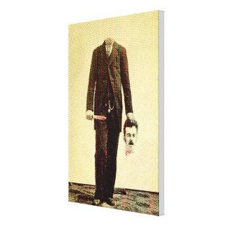 Self- decapitated man canvas print