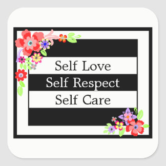 """Self Love"" Gorgeous Floral Sticker. Square Sticker"