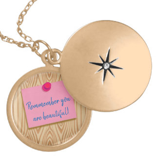 SELF LOVE SELF-ESTEEM NECKLACE. YOU ARE BEAUTIFUL. GOLD PLATED NECKLACE