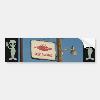 """Self Parking"" UFO Alien Sign Bumper Sticker"