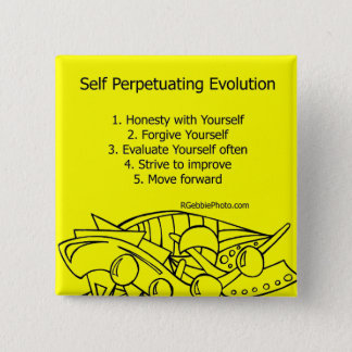 Self Perpetuating Evolution on Yellow 2 Inch Square Button