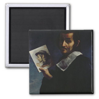 Self Portrait, 1674 (oil on canvas) Square Magnet