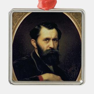 Self Portrait, 1870 Silver-Colored Square Ornament
