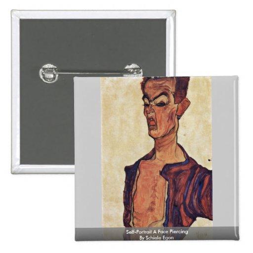 Self-Portrait A Face Piercing By Schiele Egon Pinback Buttons