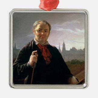 Self Portrait against the Window Silver-Colored Square Ornament