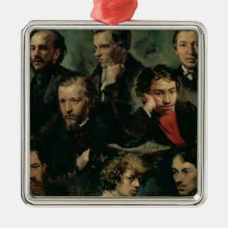 Self Portrait and Portraits of Friends, 1864 Silver-Colored Square Ornament