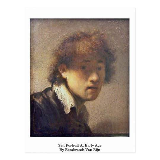 Self Portrait At Early Age By Rembrandt Van Rijn Postcard