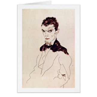 Self-Portrait By Egon Schiele Card