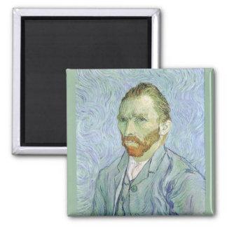 Self Portrait in Blue by Vincent van Gogh Square Magnet