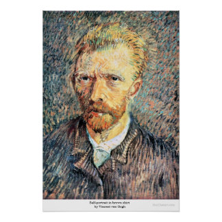 Self-portrait in brown shirt by Vincent van Gogh Poster