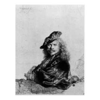 Self portrait leaning on a stone sill, 1639 postcard