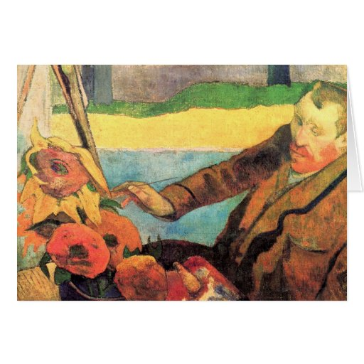 Self Portrait painting Sunflowers by van Gogh Greeting Card