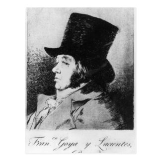 Self Portrait, plate 1 of 'Los caprichos' Postcard