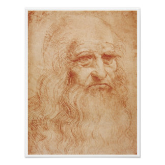 Self-Portrait, Red Chalk, Leonardo da Vinci, 1519 Poster