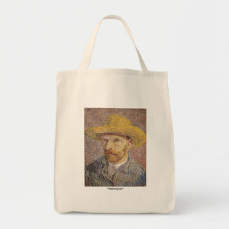 Self Portrait with a Straw Hat by Vincent van Gogh Tote Bag