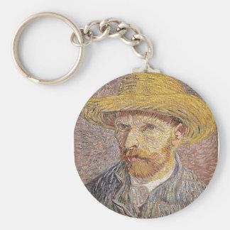 Self-Portrait with a Straw Hat - Van Gogh Basic Round Button Keychain