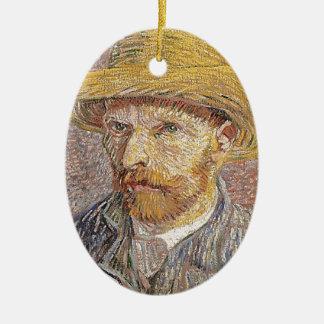 Self-Portrait with a Straw Hat - Van Gogh Ceramic Ornament