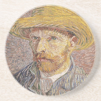 Self-Portrait with a Straw Hat - Van Gogh Drink Coaster