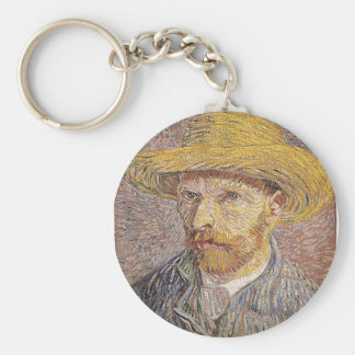 Self-Portrait with a Straw Hat - Van Gogh Keychain