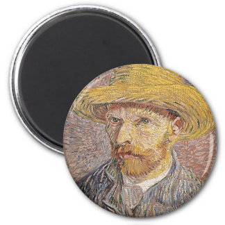 Self-Portrait with a Straw Hat - Van Gogh Magnet