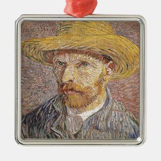 Self-Portrait with a Straw Hat - Van Gogh Metal Ornament