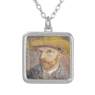 Self-Portrait with a Straw Hat - Van Gogh Silver Plated Necklace