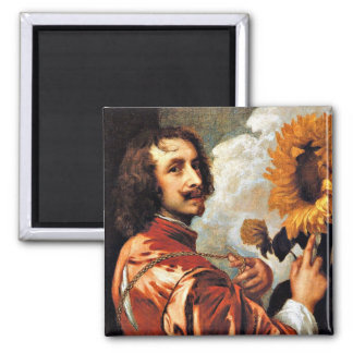 Self-Portrait with a Sunflower, 1632 artwork Magnet