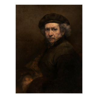Self-Portrait with Beret by Rembrandt Perfect Poster