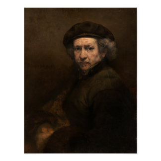 Self-Portrait with Beret by Rembrandt, Small Poster