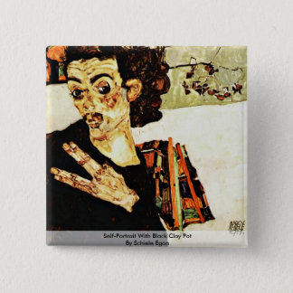 Self-Portrait With Black Clay Pot By Schiele Egon 2 Inch Square Button