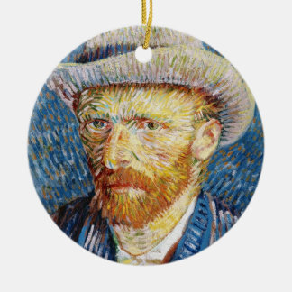 Self Portrait with Felt Hat Vincent van Gogh art Round Ceramic Ornament