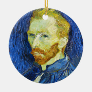 Self Portrait with Pallette vincent van gogh Round Ceramic Ornament